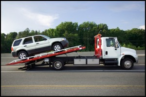 flat bed tow truck and towing service